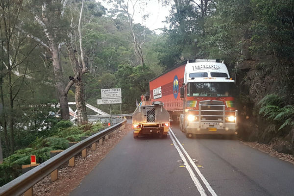 Article image for Semi-trailer in the Galston Gorge
