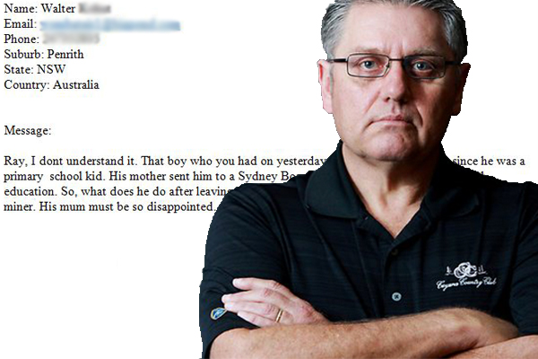 Article image for Ray slams unbelievable 'job snob' emailer