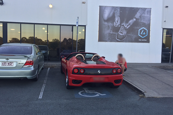 Article image for Ferrari parked in disabled parking spot at Sunshine Coast gym