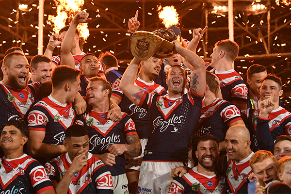 Article image for Roosters celebrate mighty victory, Cronk plays entire game with fractured shoulder