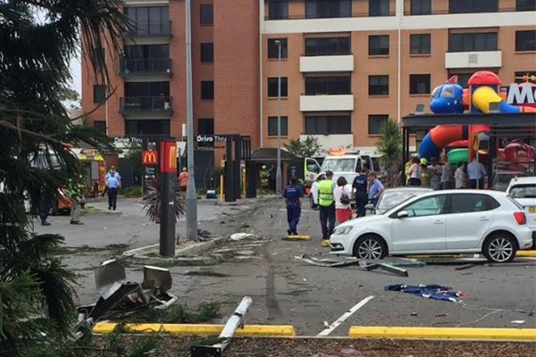 Article image for Out of control truck smashes through Wollongong McDonald's