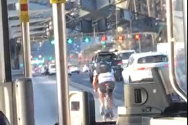 Article image for WATCH   Idiotic cyclist holds up traffic on Sydney Harbour Bridge