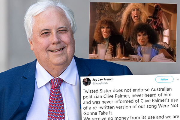 Article image for US rock band Twisted Sister 'not gonna take' Clive Palmer's comeback attempt