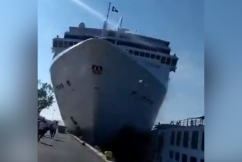 WATCH | Venice cruise ship sends tourists running as it crashes into dock