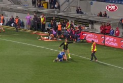 Bizarre vision: Overzealous AFL security guard tries to break up fight — BETWEEN PLAYERS