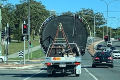 Rental ute carries ridiculously dangerous load