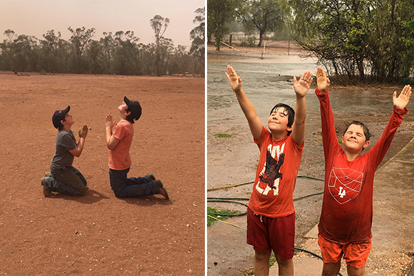 Article image for Country boys jumping for joy after prayers for rain answered