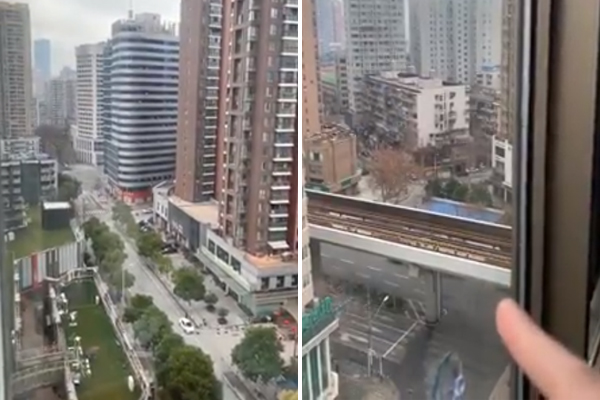 Article image for WATCH | Aussie trapped in Wuhan shares shocking footage from the deserted city