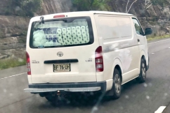 Van caught with hundreds of toilet paper rolls