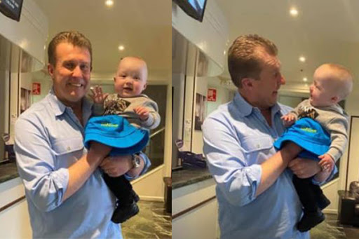 Article image for CUTE PICS: Nine newsreader Peter Overton meets his youngest fan!