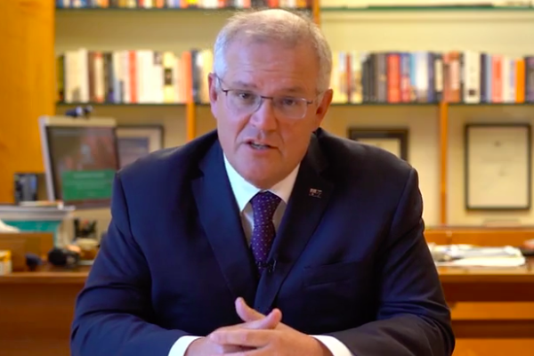 Article image for 'Australia is keeping pace': PM's video message to defend rollout