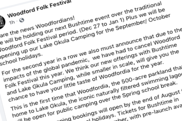Article image for Sad news: Woodford Folk Festival called off for the second year in a row