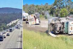 M1 gridlock: Two-truck rollover causes massive delays on the M1