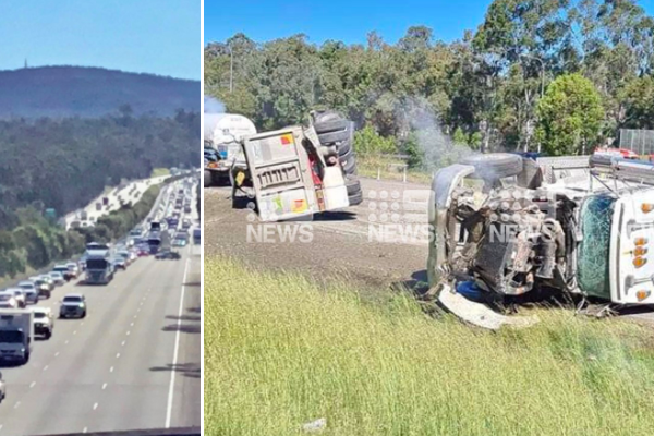 Article image for M1 gridlock: Two-truck rollover causes massive delays on the M1
